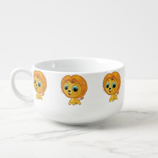 Cartoon illustration of a cute lion soup mug