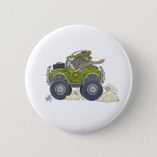 Cartoon illustration of a Elephant driving a jeep. 2 Inch Round Button