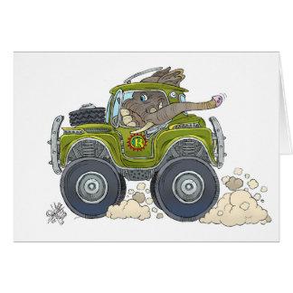 Cartoon illustration of a Elephant driving a jeep. Card