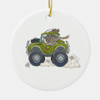Cartoon illustration of a Elephant driving a jeep. Ceramic Ornament
