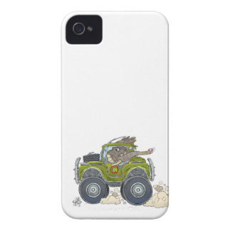Cartoon illustration of a Elephant driving a jeep. iPhone 4 Cover