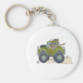 Cartoon illustration of a Elephant driving a jeep. Keychain