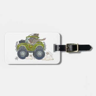 Cartoon illustration of a Elephant driving a jeep. Luggage Tag