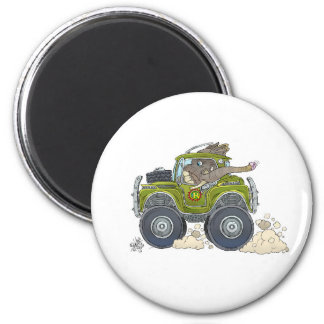 Cartoon illustration of a Elephant driving a jeep. Magnet