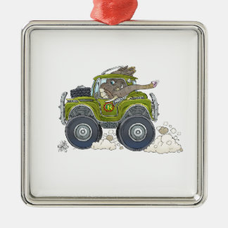 Cartoon illustration of a Elephant driving a jeep. Metal Ornament