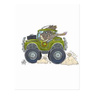 Cartoon illustration of a Elephant driving a jeep. Postcard