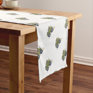 Cartoon illustration of a Elephant driving a jeep. Short Table Runner