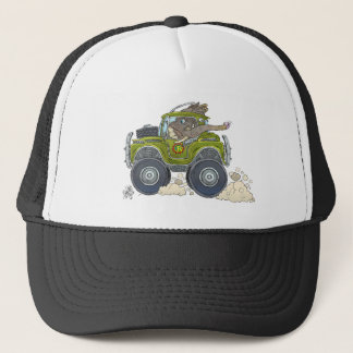 Cartoon illustration of a Elephant driving a jeep. Trucker Hat
