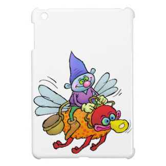 Cartoon illustration of a gnome riding an bee. iPad mini cases