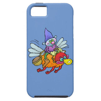 Cartoon illustration of a gnome riding an bee. iPhone 5 cases