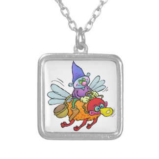 Cartoon illustration of a gnome riding an bee. silver plated necklace