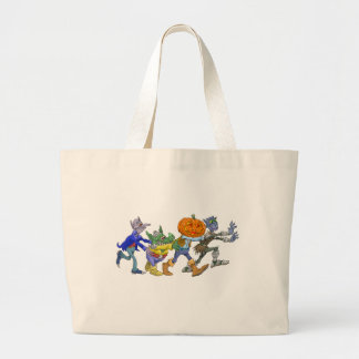Cartoon illustration of a Halloween congo. Large Tote Bag