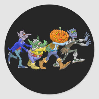 Cartoon illustration of a Halloween congo. Round Sticker