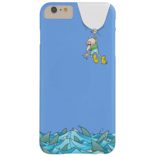 Cartoon illustration of a man hanging over sharks. barely there iPhone 6 plus case