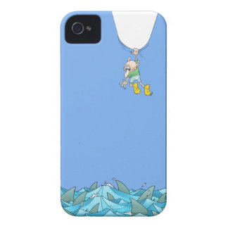 Cartoon illustration of a man hanging over sharks. iPhone 4 Case-Mate case