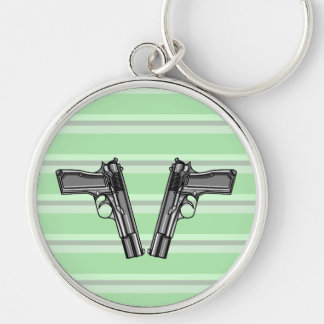 Cartoon Illustration Of A Modern Pistol Silver-Colored Round Keychain