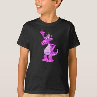 Cartoon illustration of a purple waving dragon. T-Shirt