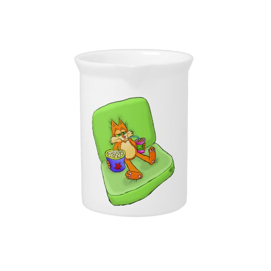 Cartoon illustration of a relaxing cat. drink pitcher