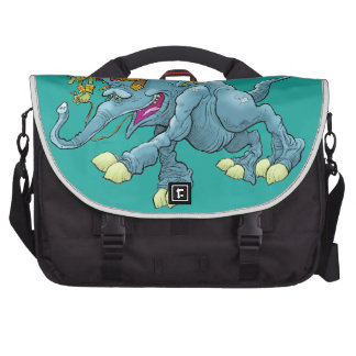 Cartoon illustration, of a running creature. laptop bag