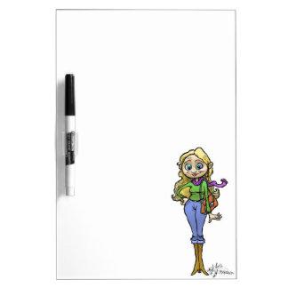Cartoon illustration of a shopping woman. Dry-Erase board