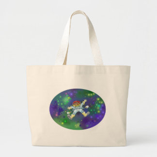 Cartoon illustration, of a space gnome, bag. large tote bag