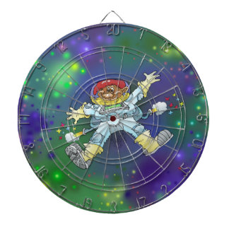 Cartoon illustration, of a space gnome, dartboard. dart boards