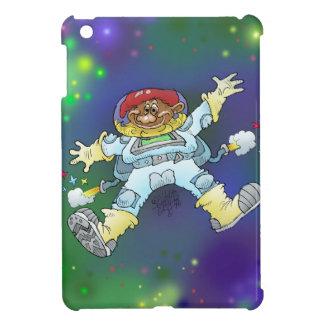 Cartoon illustration, of a space gnome, ipadmini. cover for the iPad mini