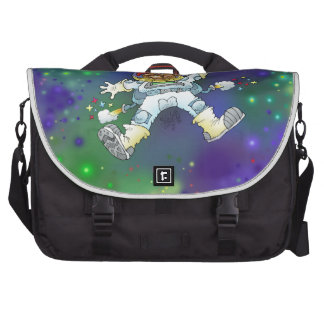 Cartoon illustration, of a space gnome. laptop commuter bag