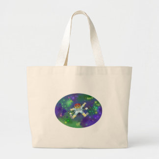 Cartoon illustration, of a space gnome. large tote bag