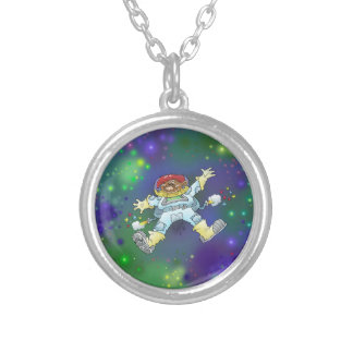 Cartoon illustration, of a space gnome, pendant. silver plated necklace