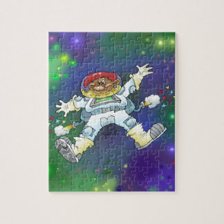 Cartoon illustration, of a space gnome, puzzle. puzzles