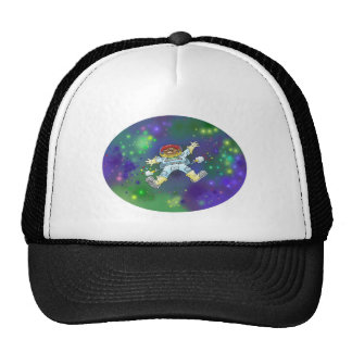 Cartoon illustration, of a space gnome. trucker hat