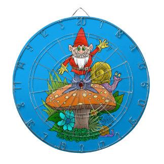 Cartoon illustration of a standing waving gnome. dart boards