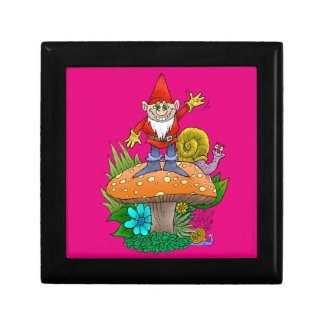 Cartoon illustration of a standing waving gnome. keepsake box
