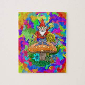Cartoon illustration of a standing waving gnome. puzzle