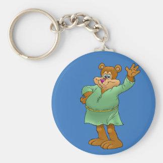 Cartoon illustration of a waving bear. basic round button keychain