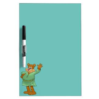Cartoon illustration of a waving bear. Dry-Erase whiteboard