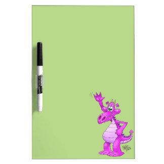Cartoon illustration of a waving purple dragon. dry erase whiteboards