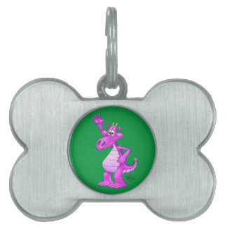 Cartoon illustration of a waving purple dragon. pet ID tags