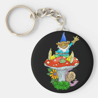 Cartoon illustration of a Waving sitting gnome. Basic Round Button Keychain