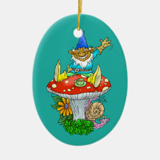 Cartoon illustration of a Waving sitting gnome. Ceramic Oval Ornament
