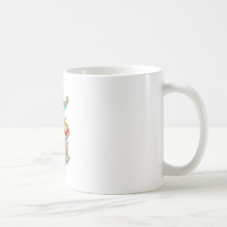 Cartoon illustration of a Waving sitting gnome. Coffee Mug