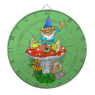 Cartoon illustration of a Waving sitting gnome. Dartboard With Darts