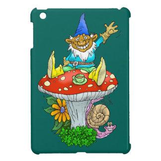 Cartoon illustration of a Waving sitting gnome. iPad Mini Cover