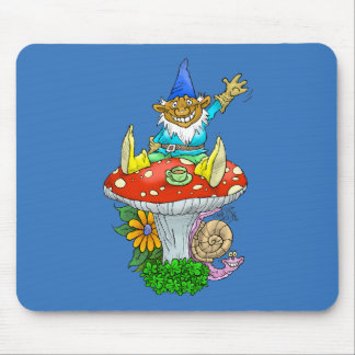 Cartoon illustration of a Waving sitting gnome. Mouse Pad
