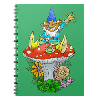Cartoon illustration of a Waving sitting gnome. Note Books