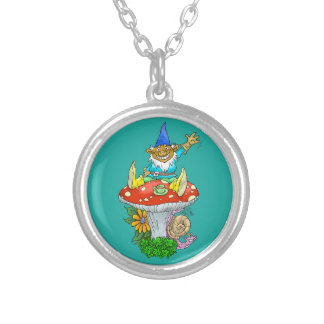 Cartoon illustration of a Waving sitting gnome. Silver Plated Necklace