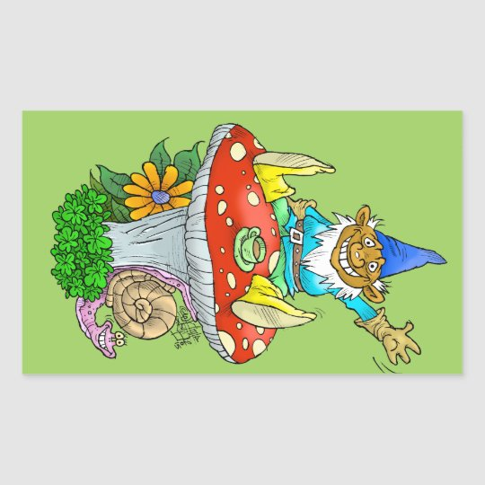 Cartoon illustration of a Waving sitting gnome. Sticker