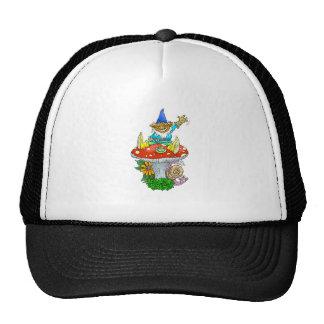 Cartoon illustration of a Waving sitting gnome. Trucker Hat