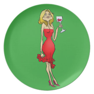 Cartoon illustration of a woman in a red dress. dinner plates